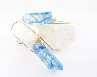 Raw Crystal Earrings - Crystal Quartz Points - Mystic Aura Blue - Points - Natural Gemstone Boho Jewelry