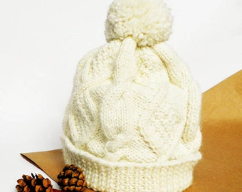 Knitted Baby Hat, Baby Hat, Woolen Children Hat, Winter Hat, Natural White Baby Hat