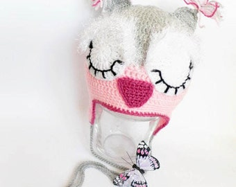 Owl baby hat, crochet baby hat,  baby owl hat, hat with earflaps, crochet winter hat, READY TO SHIP