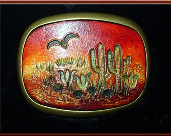 """DESERT CACTUS Southwestern Style Handcrafted, Hand Tooled Leather Belt Buckle • Fits up to 1 3/4"""" Wide Belt.  2 1/2"""" High X 3 1/4"""" Long."""