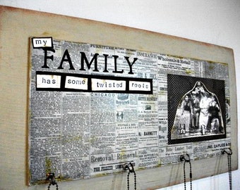 Family Tree Decor, Reclaimed Wood, Twisted Roots, Family Picture Decor, Wall  Hanging