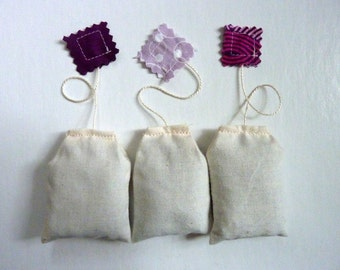 Teabag Sachets. Lavender. Set of Three.