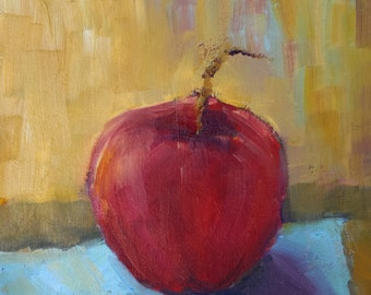 Apple Painting - fruit still life - original oil - small painting - fine art wall decor - canvas painting of fruit - red apple - fall art