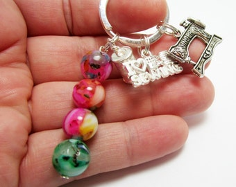 Sewing Keychain I Love Sewing Key Chain Tailor Keychain Seamstress Key Ring Sewing Machine and Spool of Thread Charm Rainbow Shell Beads