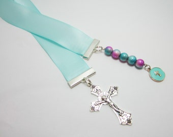 Christian Ribbon Bookmark Confirmation Baptism Gift Aqua Blue Satin Ribbon Large Cross