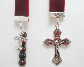 Christian Ribbon Bookmark Red Wine Velvet Confirmation Baptism Black Cherry Glass Beads Large and Small Cross Charms
