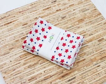 Small Cloth Napkins - Set of 4 - (N1637s) - Red Stars Modern Reusable Fabric Napkins