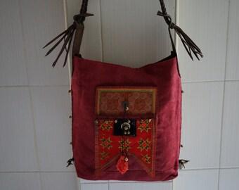 Hmong Genuine Leather bags,Thai Bags,Bohemian Bag,Embroidery Tote bag,Embroidered Boho Bag,Ethnic Crossbody Bag,Hmong Boho Bag