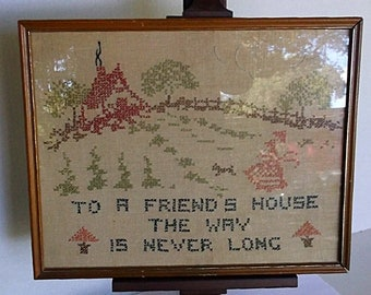 Vintage Cross Stitch Sampler Framed Homespun Wall Art