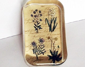 Vintage Glass Paper Weight Botanical Floral Office Decor Gifts For Her