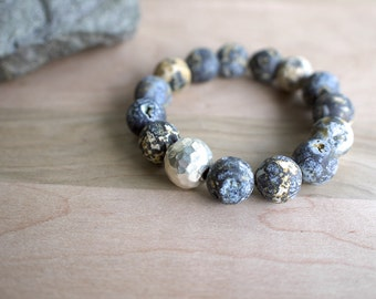 rough jasper bracelet in gorgeous blue, gray and yellow.  thai silver hammered bead. statement piece. custom fit.