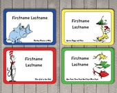 Dr. Seuss Name Tag Sticker Set, Avery Template for Avery Name Tags, Name Badges - Printable