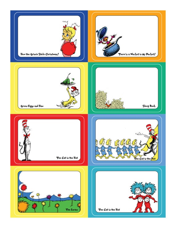 Dr seuss name tag sticker set template for avery name for Dr name tag template