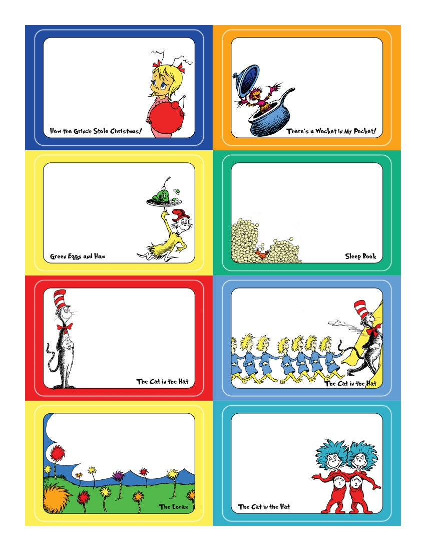 Dr Seuss Name Tag Sticker Set Template For Avery Name