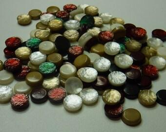 "44 Vintage Christmas Flat Back Pebble Buttons. Size 1/4"""