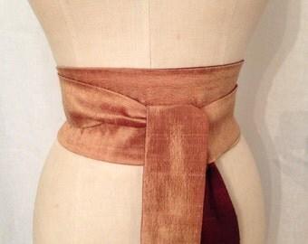 Silk Shantung Obi Sash, Burgundy and Gold Reversible