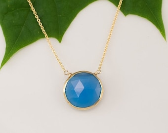 40 OFF - Blue Chalcedony Necklace - Layering Necklace - bezel set necklace - gemstone necklace - Gold necklace - Something Blue