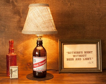 Red Stripe Beer Bottle Lamp Lager Free US Shipping