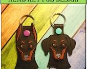In The Hoop Doberman Dog Head Key Fob Embroidery Machine Design