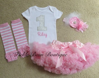 Girls 1st Birthday Outfit - Pink and Silver Birthday Outfit - 1st Birthday Outfit - Pink Pettiskirt - Birthday Shirt - Flower Headband