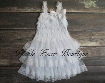 White Lace Flower Girl Dress - 3-9 mo - Baby Wedding Dress - Rustic Flower Girl Dress - Cowgirl Dress - Country Flower Girl Dresses