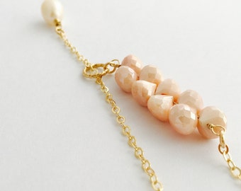 Handmade Mystic Peach Moonstone Lariat Necklace, 14K Gold Filled Chain, Freshwater Pearl, June Birthstone