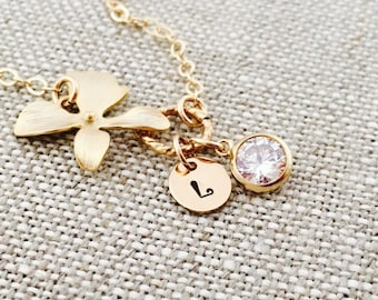 Personalized Gold Plated Orchid Flower Bracelet, Diamond CZ, 14K Gold Filled Chain, April Birthstone