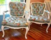 Vintage Tufted French Arm Chairs in Blue Floral Robert Allen Fabic