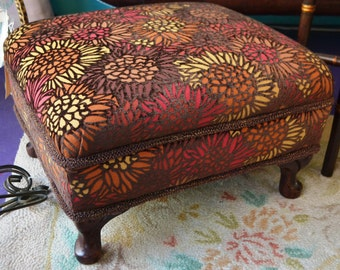Vintage Small Ottoman/Stool in Red/Gold/Brown Sunflower Velvet w/ Trim