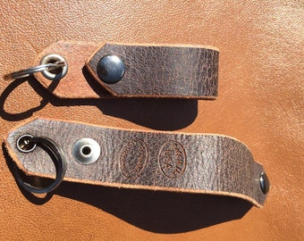 Distressed Brown Leather Belt Fob