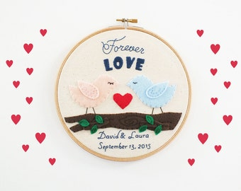 Wedding Embroidery Hoop, personalized wedding gift, love birds, forever love, wedding decoration, customized keepsake, anniversary memento