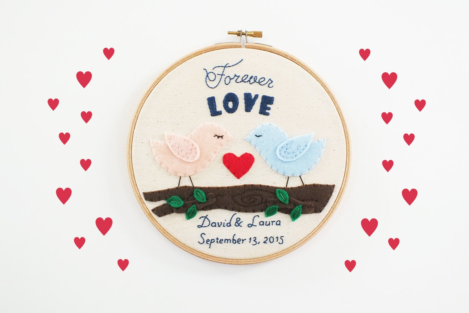 Wedding embroidery hoop personalized gift love