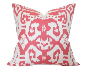 Island Ikat Watermelon Quadrille - Designer Pillow Cover - 18x18 Single-Sided