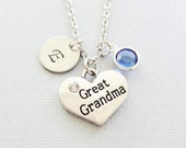 Great Grandma Necklace,Great Grandmother,Heart,Mothers Day Gift,Silver Initial,Swarovski Birthstone,Personalized,Monogram,Hand Stamped