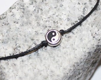 Yin Yang Bracelet or Anklet, Tierracast Silver Plated Pewter