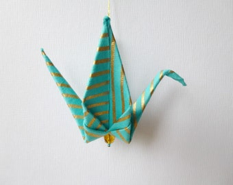 TURQUOISE Large Origami Peace Crane Ornament Set of 25