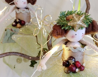 Set of three Mini Fairies - Christmas Tree Decorations. Gold, green with red berries.