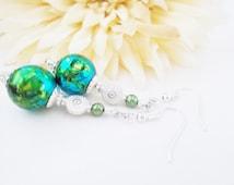 Blue Green Drop Earrings, Watercolor Earrings, Green Pearl Earrings, Nickel Free Earrings, Clip On Earrings, Boho Glass Beaded Earrings
