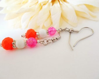 Tropical Earrings, Summer Jewelry, Hot Pink Earrings, Neon Orange Earrings, Glass Drop Earrings, Teen Gift for Her, Colorful Dangle Earrings