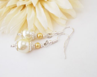 Light Yellow Pearl Earrings, Gold Pearl Earrings, Bridal Earrings, Pale Yellow Jewelry, Bridesmaids Earrings, Silver and Lemon Yellow Dangle