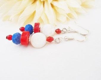 Red White and Blue Earrings, Patriotic Earrings, White Shell Earrings, American Earrings, 4th of July Earrings, Summer Jewelry, Boho Jewelry
