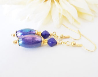 Cobalt Blue Earrings, Glass Beaded Earrings, Navy Blue Drop Earrings, Gold Earrings, Clip On Earrings, Hypoallergenic, Nickel Free Earrings
