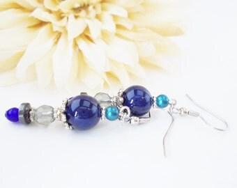 Navy Blue Riverstone Bohemian Earrings, Blue Gray Beaded Earrings, Pearl Drop Earrings, Dark Blue Hematite Earrings, Glass Earrings, Clip On