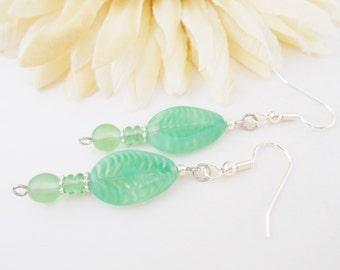 Leaf Earrings, Boho Beaded Earrings, Clip On Earrings, Hippie Jewelry, Greenery Earrings, Glass Drop Earrings, Green Earrings, Birthday Gift