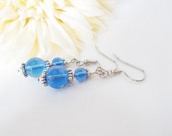 Sky Blue Earrings, Cool Blue Earrings, Ocean Blue Fashion Beaded Jewelry, Carolina Blue Czech Glass Earrings, Blue Beaded Earrings