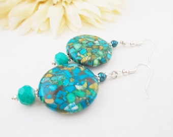 Turquoise Pearl Earrings, Mother of Pearl, Shell Earrings, Czech Glass Beaded Earrings, Aqua Earrings, Teal Drop Earring, Blue Green Jewelry