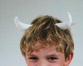 Clip on Horns - White fabric handmade horns sewn to hair clips