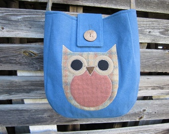 Owl crossbody bag, wool totebag, recycled wool