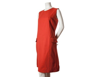 Vintage orange - red sleeveless wool jumper dress -- shift dress -- size large