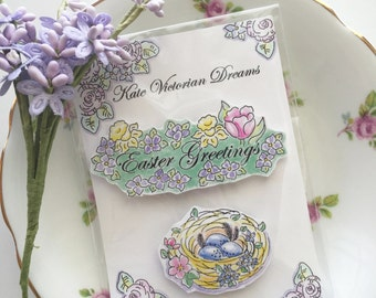 Easter Greetings Magnets, Spring Flowers, Tulips, Daffodils, A Bird's Nest, Eggs, Art, illustration, Watercolors, Cottage Chic